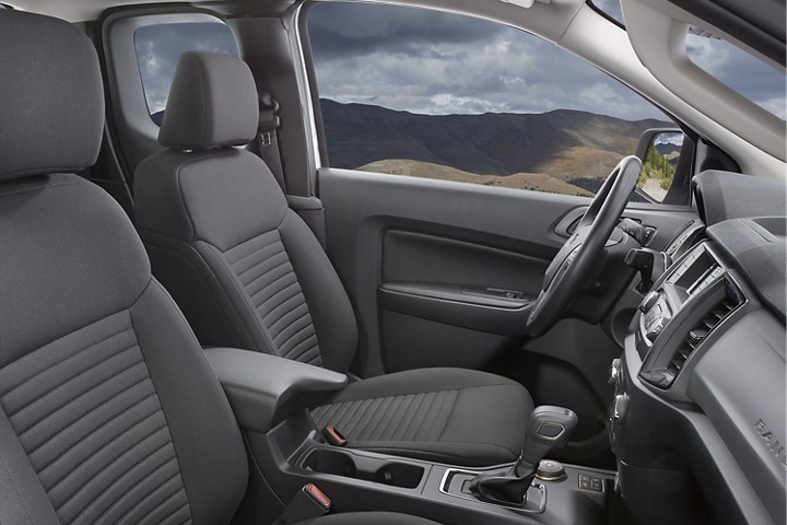 Bucket seating of 2020 Ford Ranger interior shown in Ebony