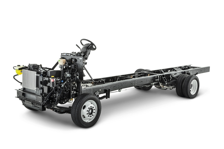 Side view of a 2020 Ford F 59 Commercial Stripped Chassis on a white background
