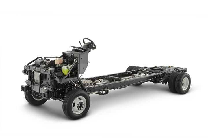 Side view of a 2021 Ford E Series Stripped Chassis on a white background