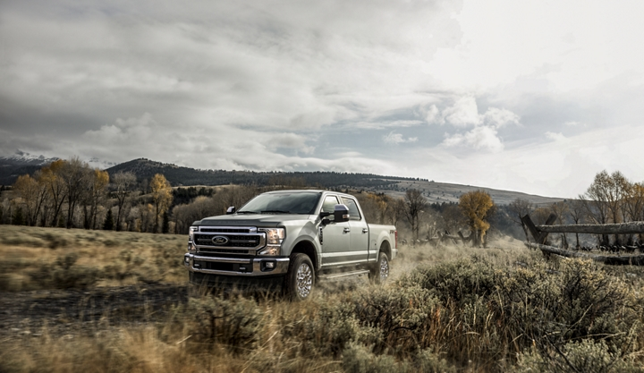 A 2020 Super Duty in a field
