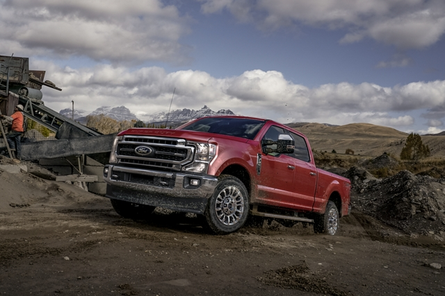 2020 Ford Super Duty going uphill on off road terrain