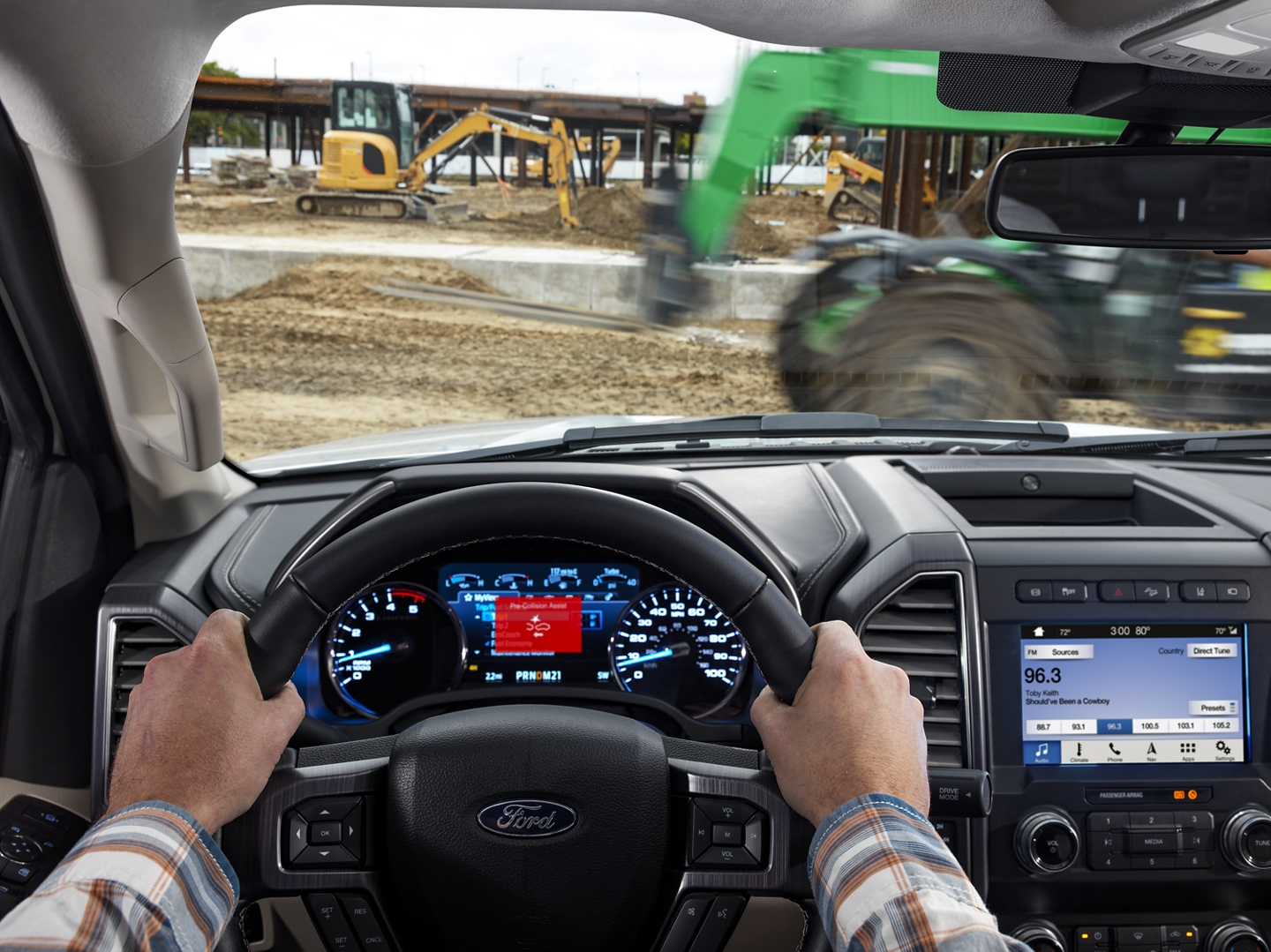 The view from inside a 2020 Super Duty on a construction site as the emergency braking system is engaged