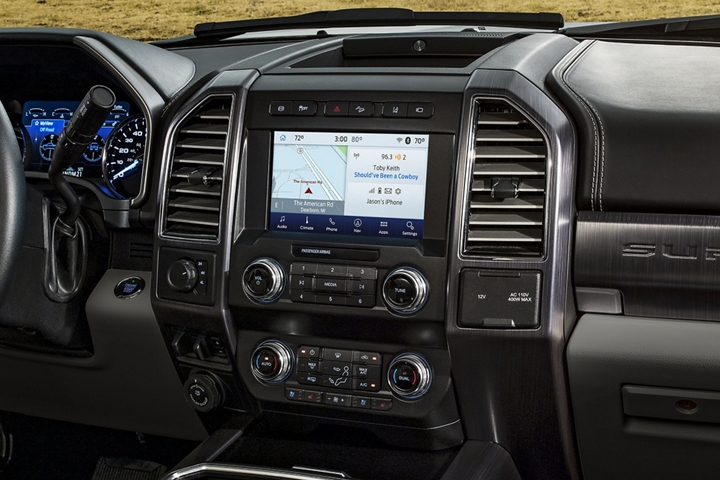 2020 Ford Super Duty Limited Interior parked in rural area