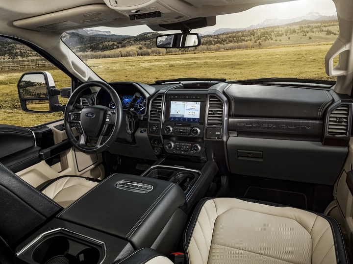 The luxurious interior of a 2020 Super Duty