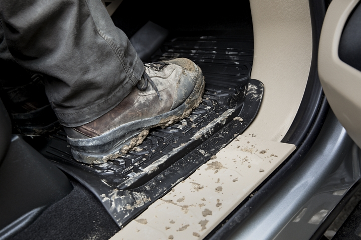 Muddy boot on all weather floor mats of 2020 Ford Super Duty