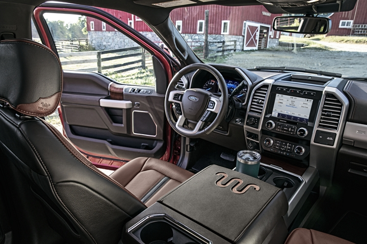 2020 Ford Super Duty King Ranch interior in Kingsville Antique Affect Leather on farm