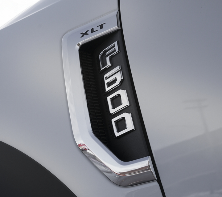 Zoomed in section of the F 600 highlighting its badge