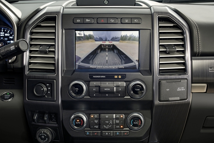 2020 Ford Super Duty Limited center dash screen with rear camera in use