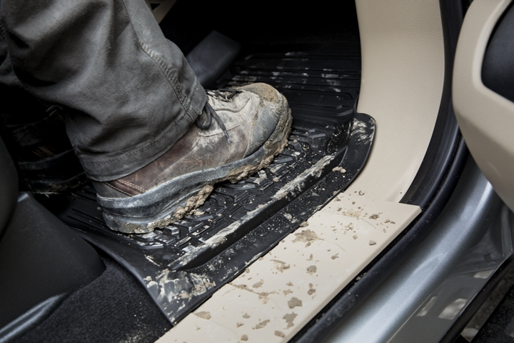 Muddy boot on all weather floor mats of the 2020 Ford Super Duty