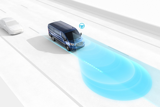 Graphic of a 2020 Ford Transit demonstrating the lane keeping system