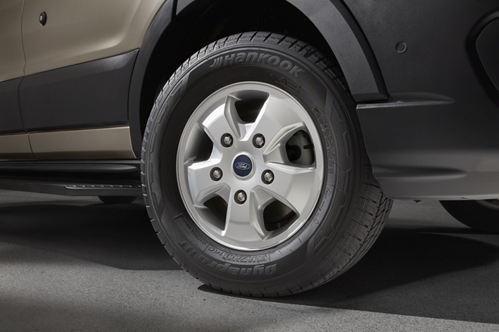 A close up of the 2020 Ford Transit sixteen inch styled aluminum wheels