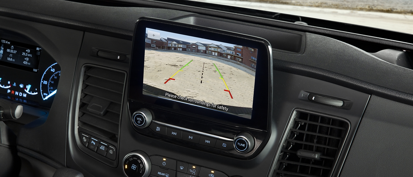 A close up of the 2020 Ford Transit center touchscreen