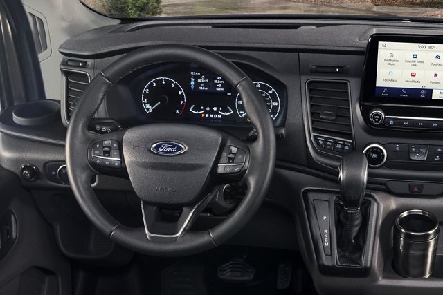 2020 Ford Transit interior view of the front dash and center screen