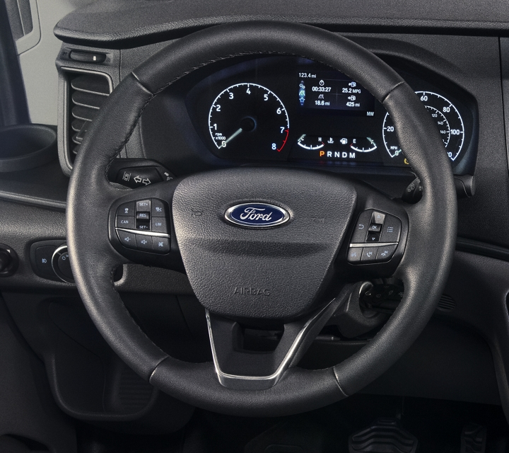 Close up of the 2020 Ford Transit steering wheel