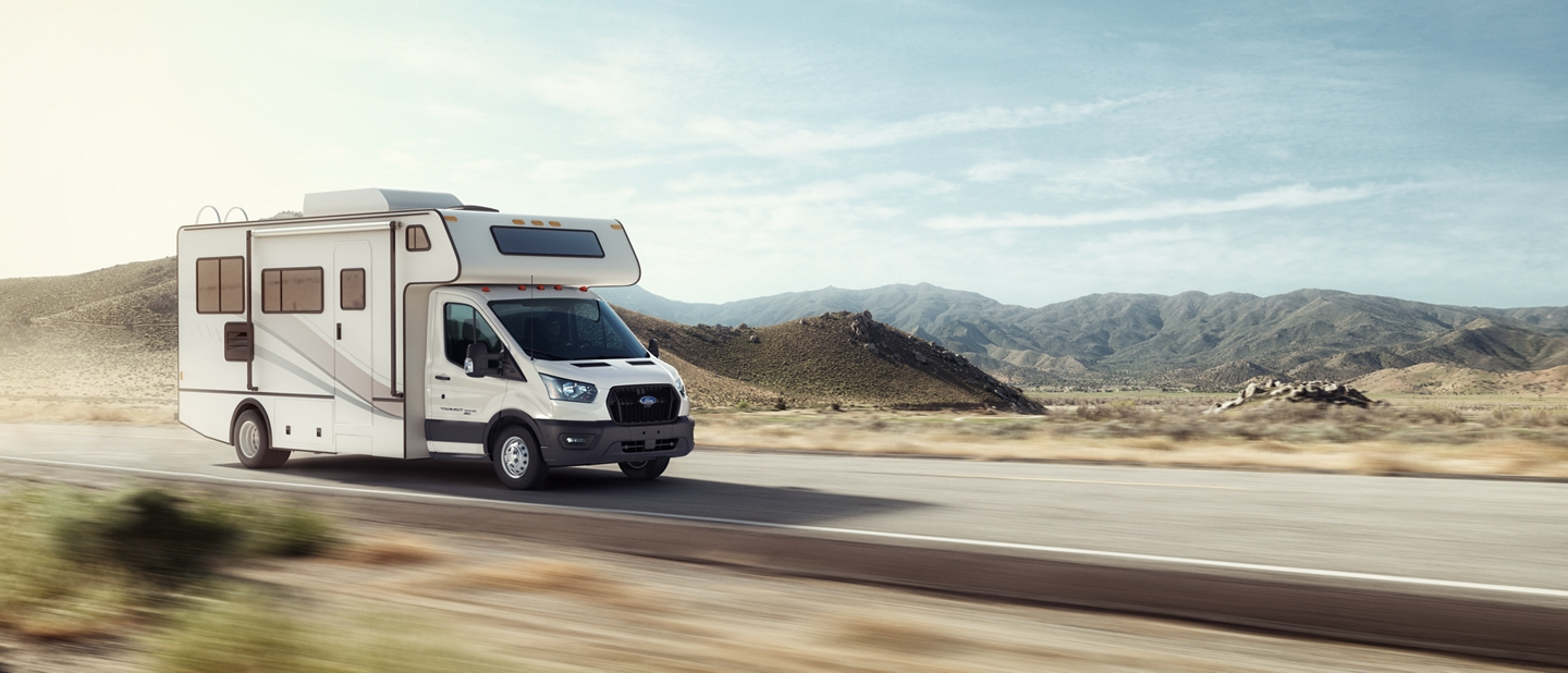 2020 Ford Transit with aftermarket Class C motorhome