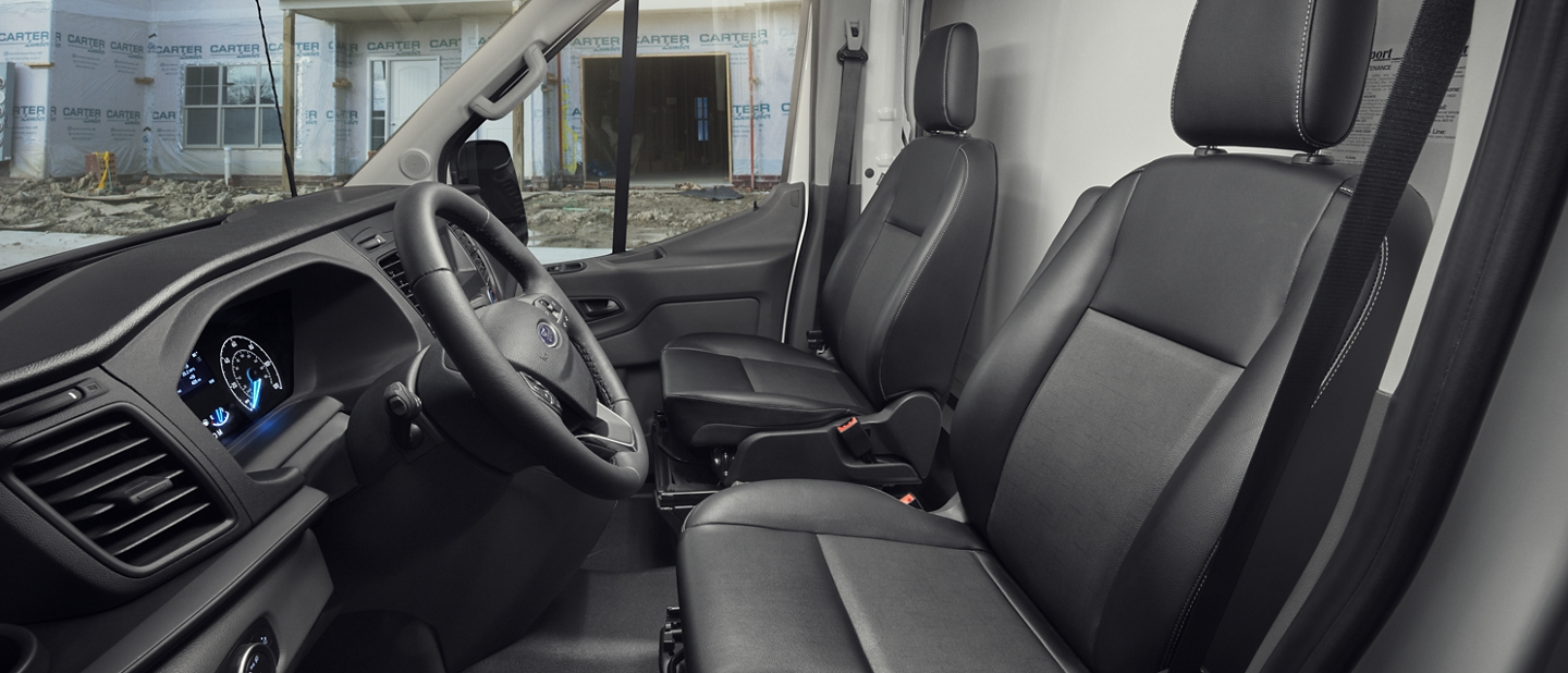 Side view of 2020 Ford Transit seat patterns in Agate Black