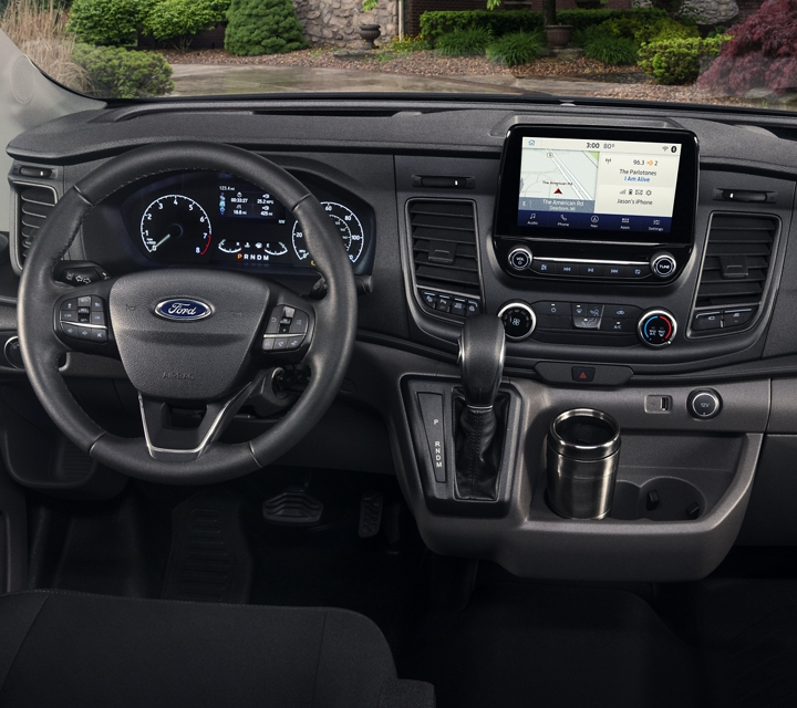 Behind the wheel of a 2020 Ford Transit Chassis Cab