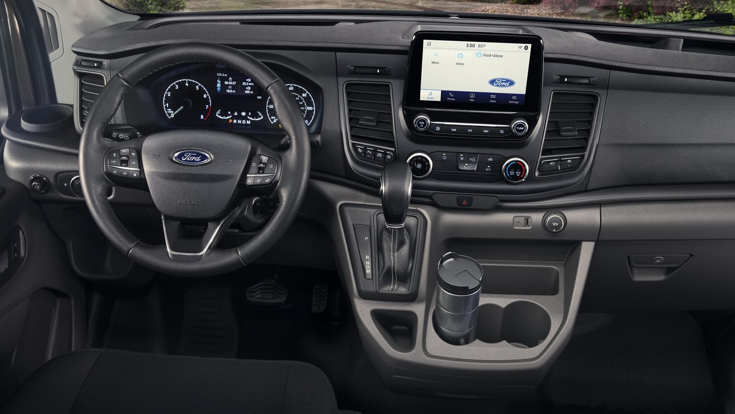 Interior of the 2020 Ford Transit with large console