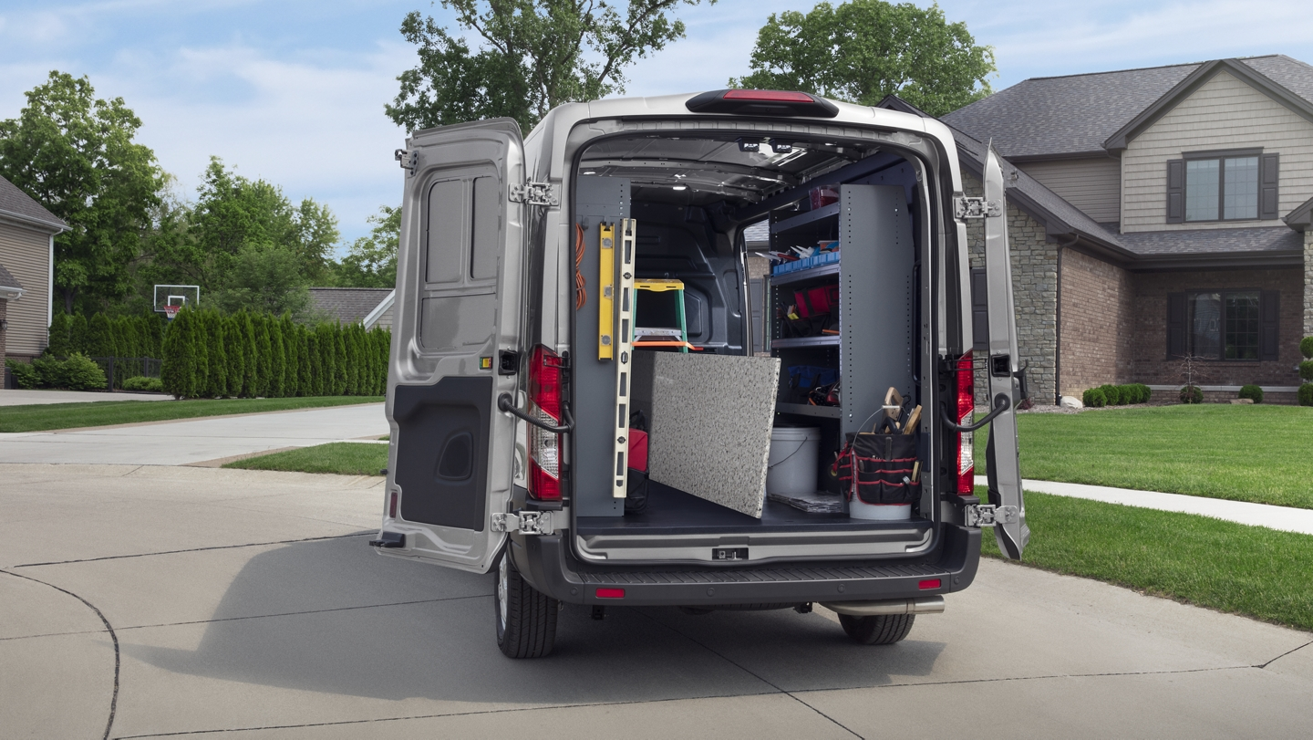 Rear view of a 2020 Ford Transit with open cargo doors