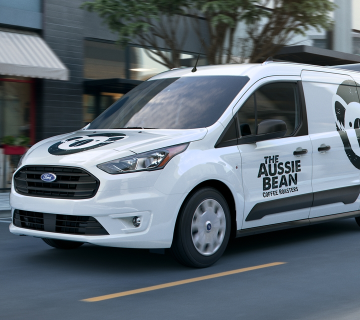 Frozen white Transit Connect Cargo Van with business graphics