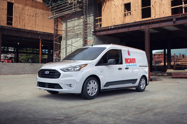 2020 Ford Transit Connect Cargo Van in Frozen White with aftermarket business graphics is a smart tool for business