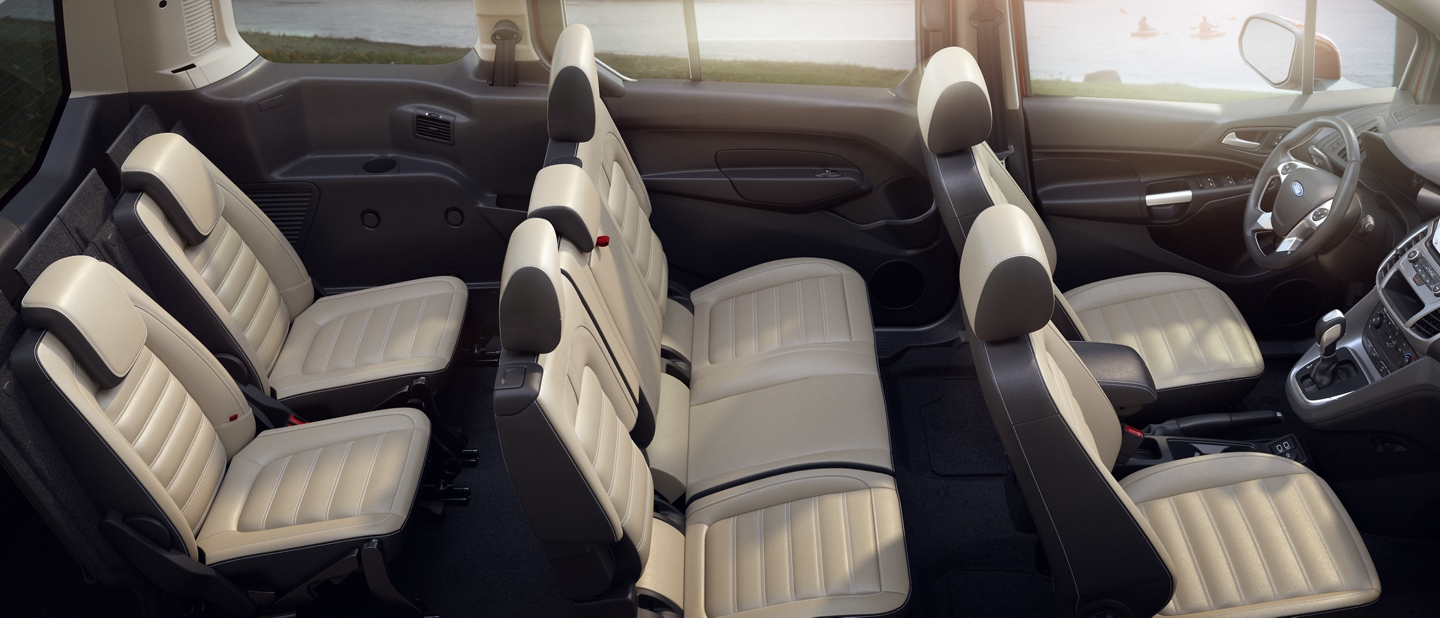Available seating for 2020 Ford Transit Connect Passenger Wagon shown here with seating for seven