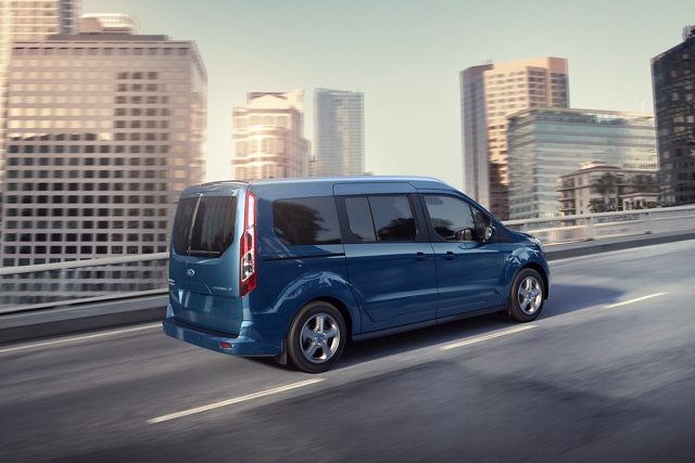 2020 Ford Transit Connect Passenger Wagon on the road with the available My Key feature that lets you set limits on speed and audio levels