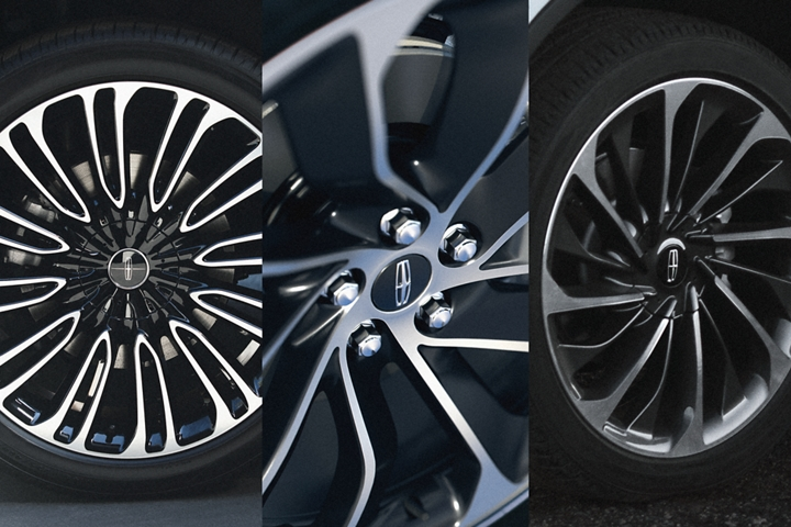 Three Lincoln Aviator wheel options are shown in this image