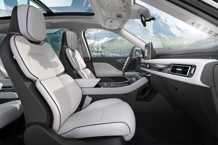 The front passenger and driver seats are shown in profile in the chalet theme