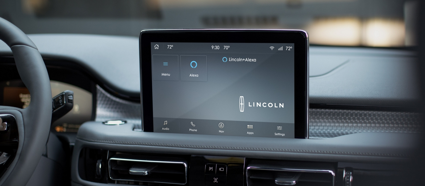 The Lincoln plus Alexa app screen is displayed in the center screen of a Lincoln Aviator