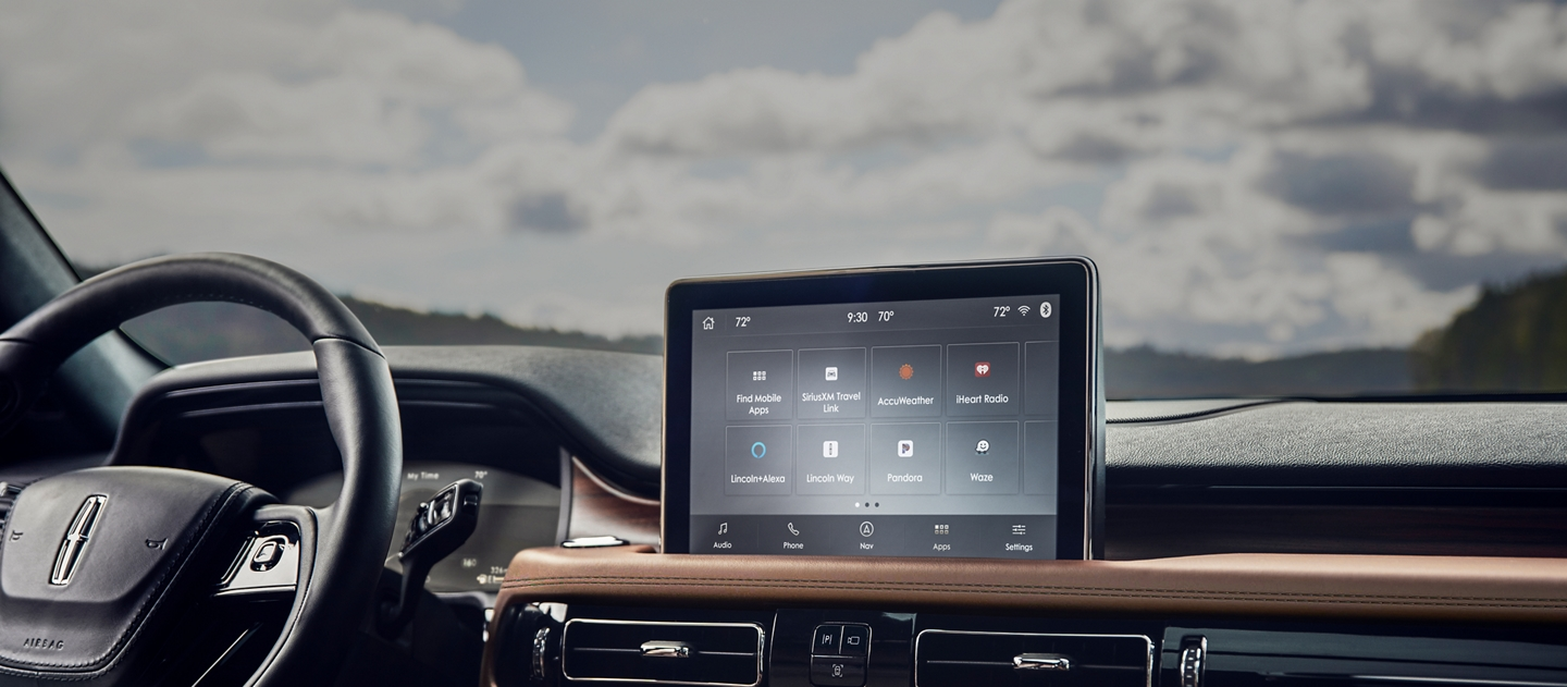 The center touch screen of a lincoln aviator is shown