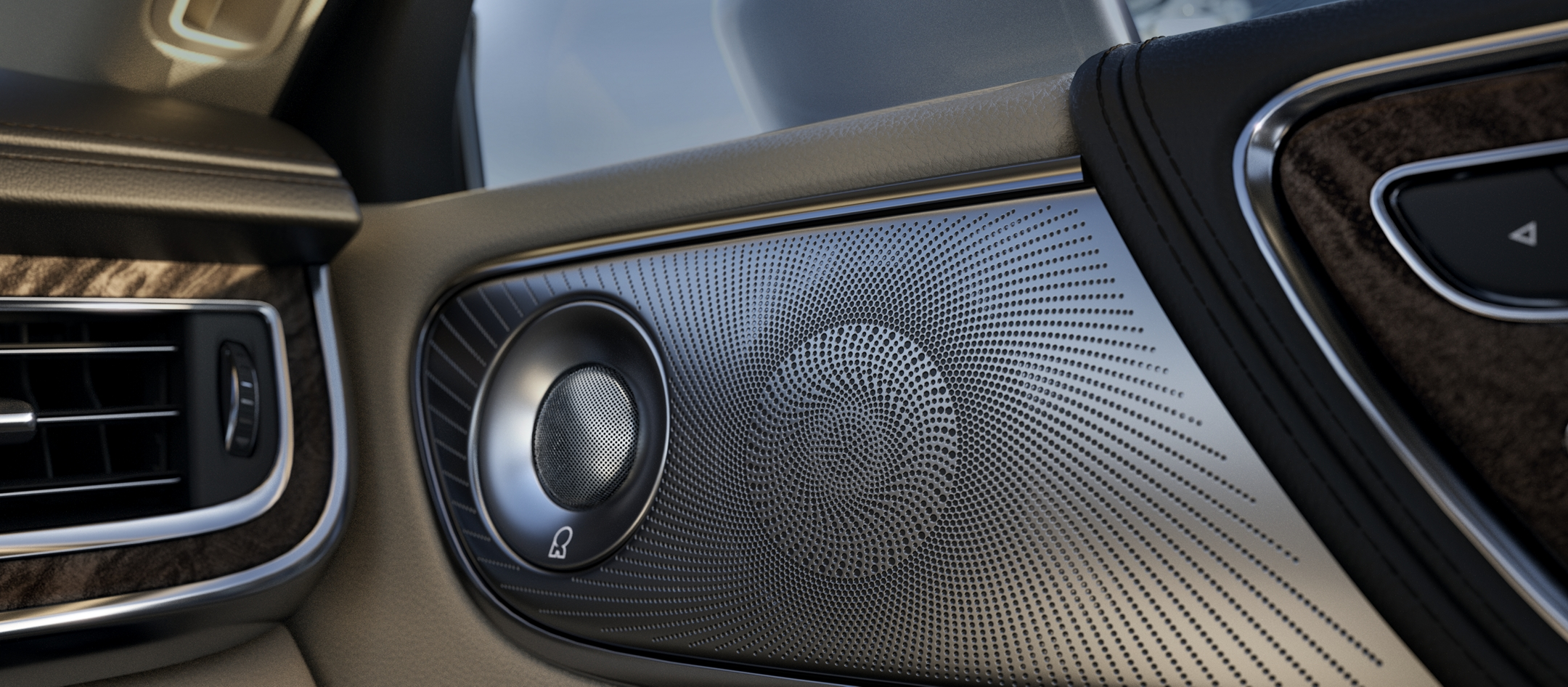 An available Revel Ultima Audio Sound system speaker is seen in a door of the Lincoln Continental