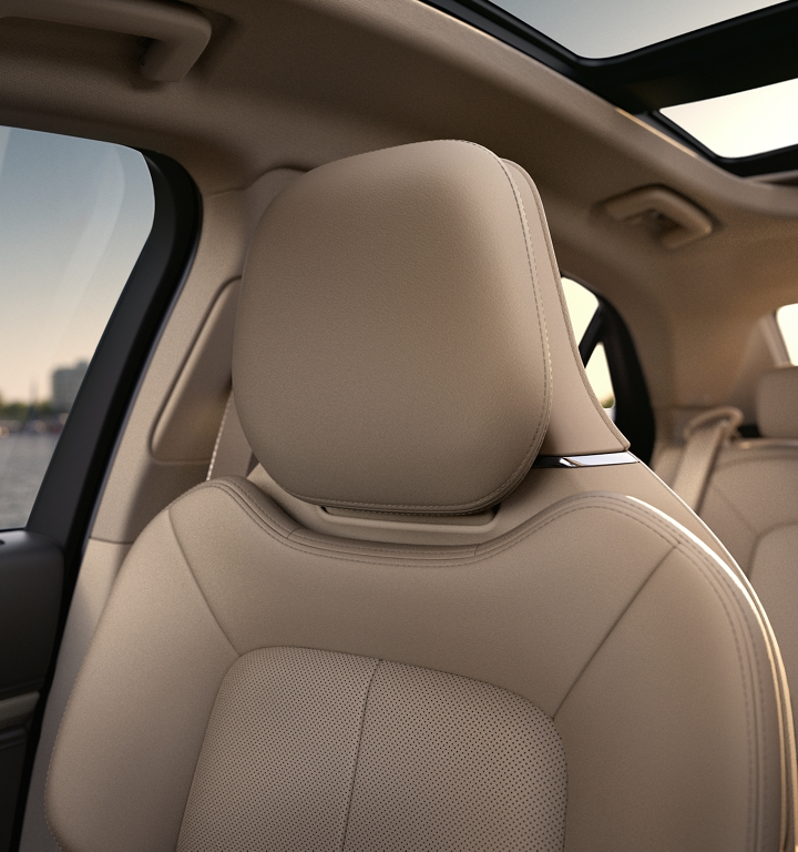 The front passenger seat shows off the inviting nature of available leather