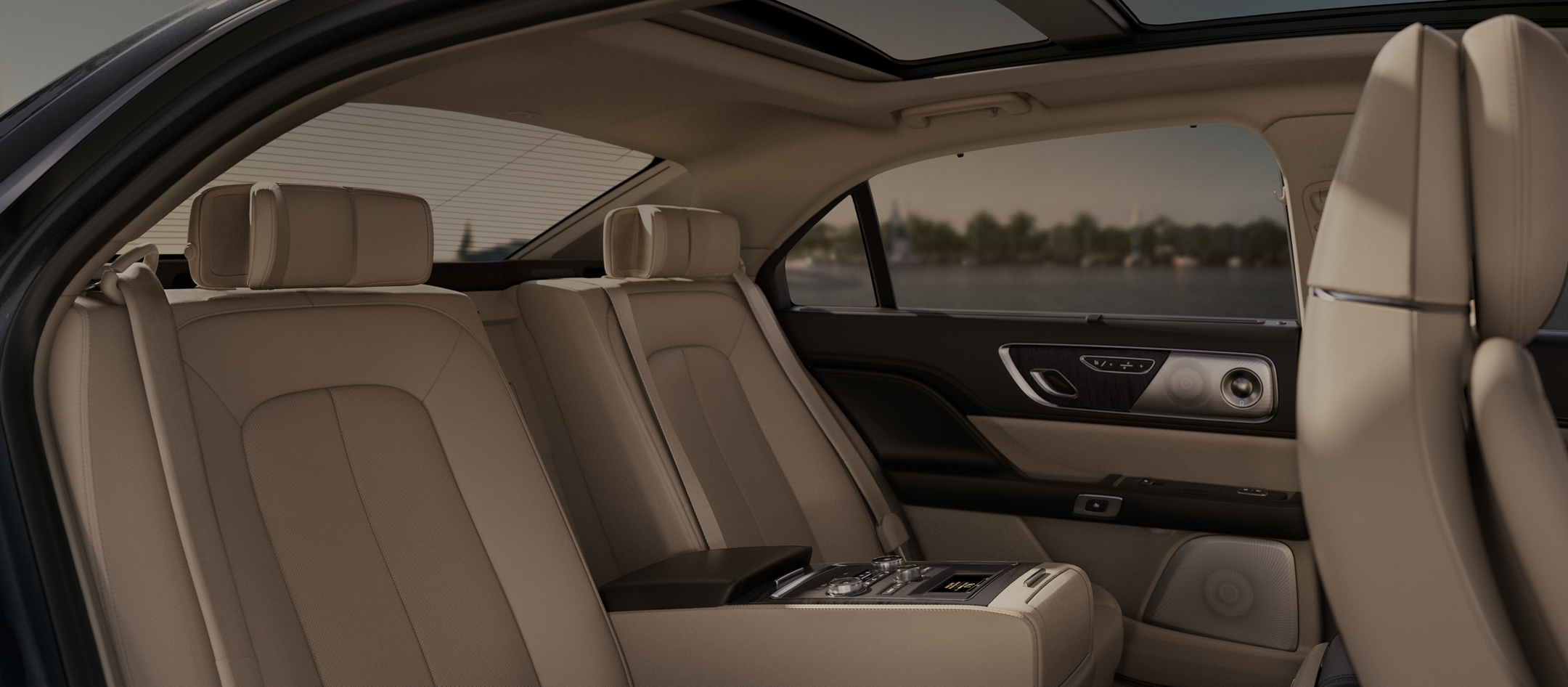 The available rear seat amenities package is shown inside a Lincoln Continental in the cappuccino interior color