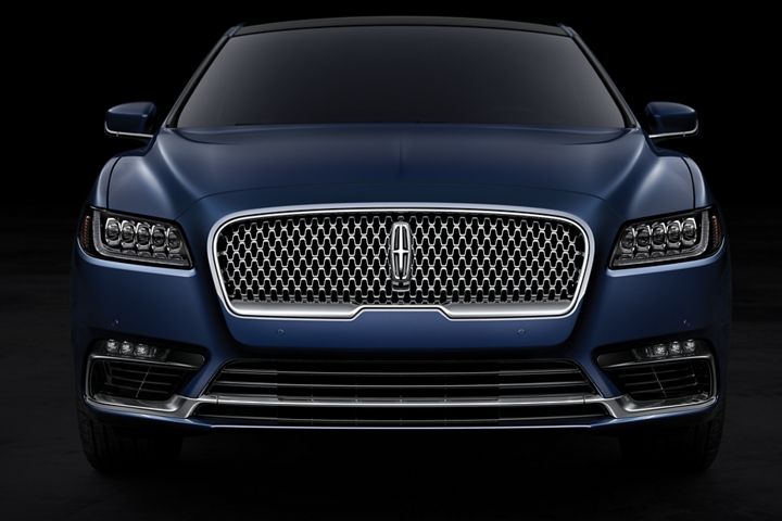 This is a head on shot of the bold grille of a Lincoln Continental