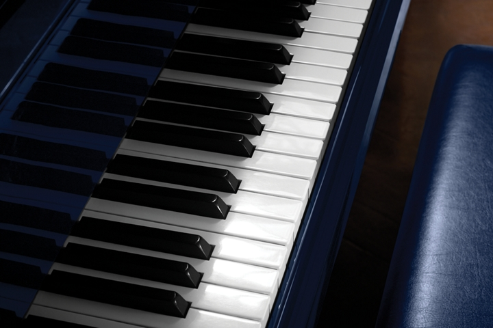 An image of piano keys is shown to demonstrate the inspiration of the rhapsody theme