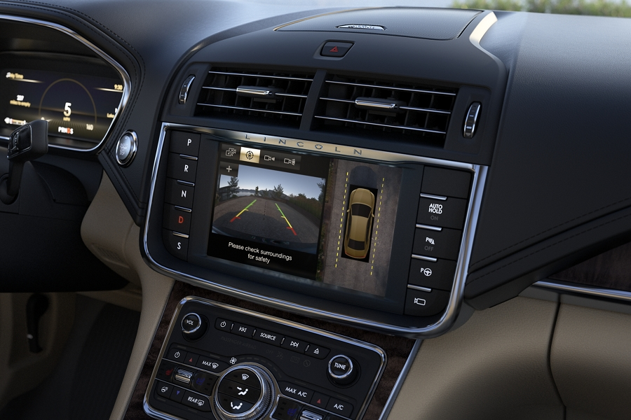 The central in-dash screen shows how the available 360 degree camera can display what is behind your vehicle