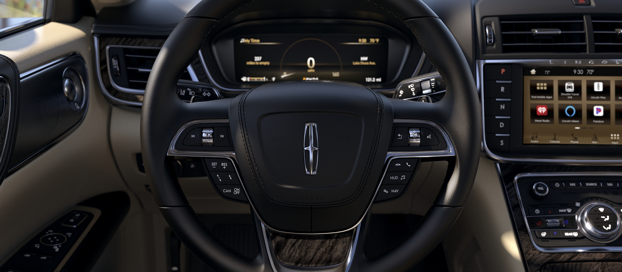 The area around the steering wheel shows how many controls are at the driver's fingertips