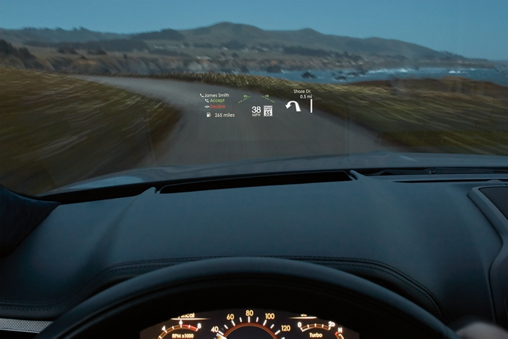 The available Head Up Display is shown displaying driver information on the windshield