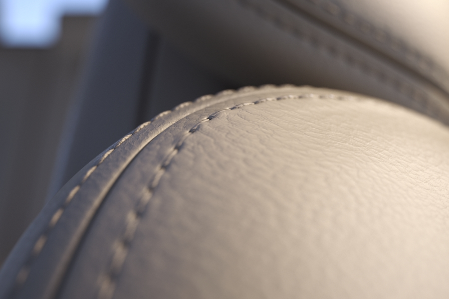 Fine stitching within the supple leather on one of the front seats shows off a high level of craftsmanship