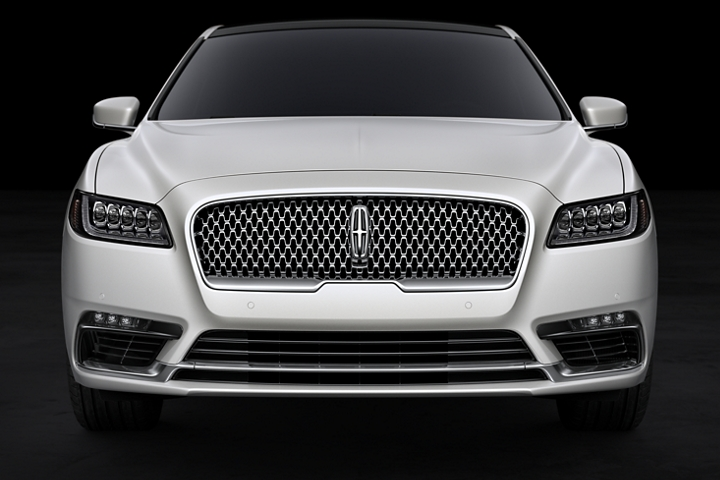 A head on image of the grille shows the stunning design of the Lincoln Black Label Continental