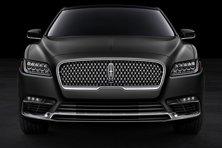 This is a head on shot of the bold grille of a Lincoln Black Label Continental