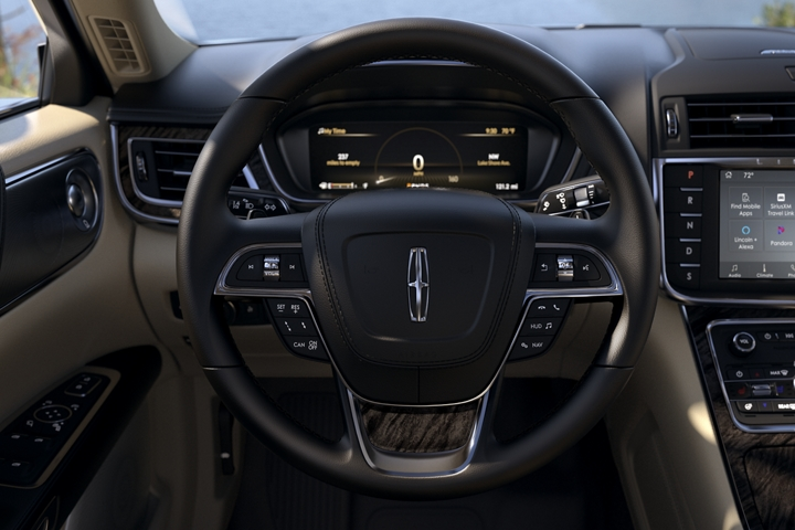 The area around the steering wheel shows how many controls are located at the drivers fingertips