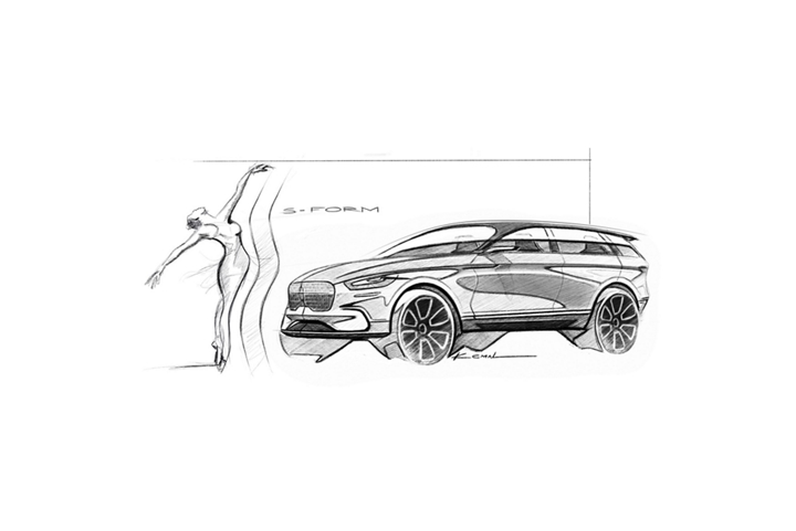 A Lincoln Corsair exterior design sketch reveals the inspiration of s curves that emote the graceful form of a ballerina