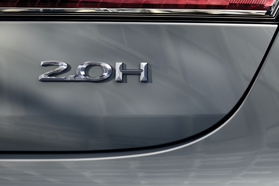 The hybrid badge of the 2020 Lincoln M K Z is displayed prominently on the rear trunk lid