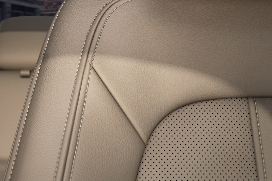The smooth leather of the front seat in a 2020 Lincoln M K Z is shown