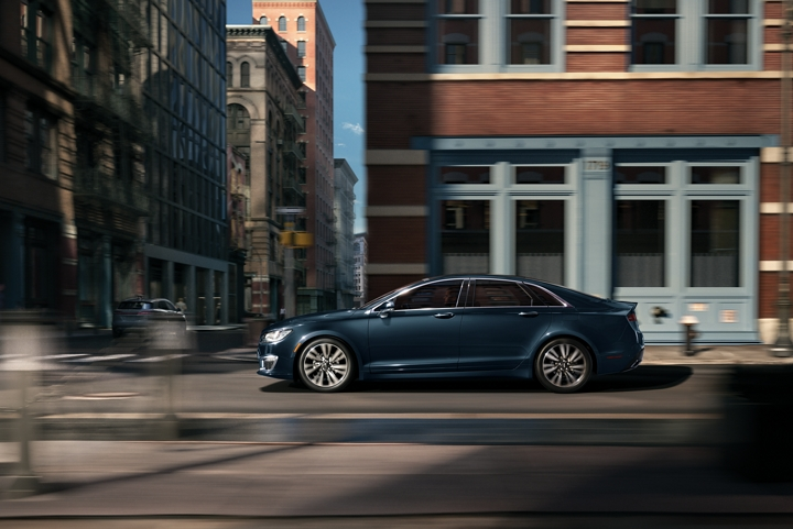 The 2020 Lincoln M K Z is shown being driven in a city setting