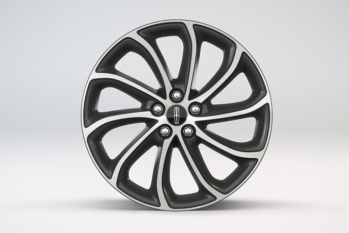 The 19 inch machined face alloy wheel with magnetic painted pockets is shown