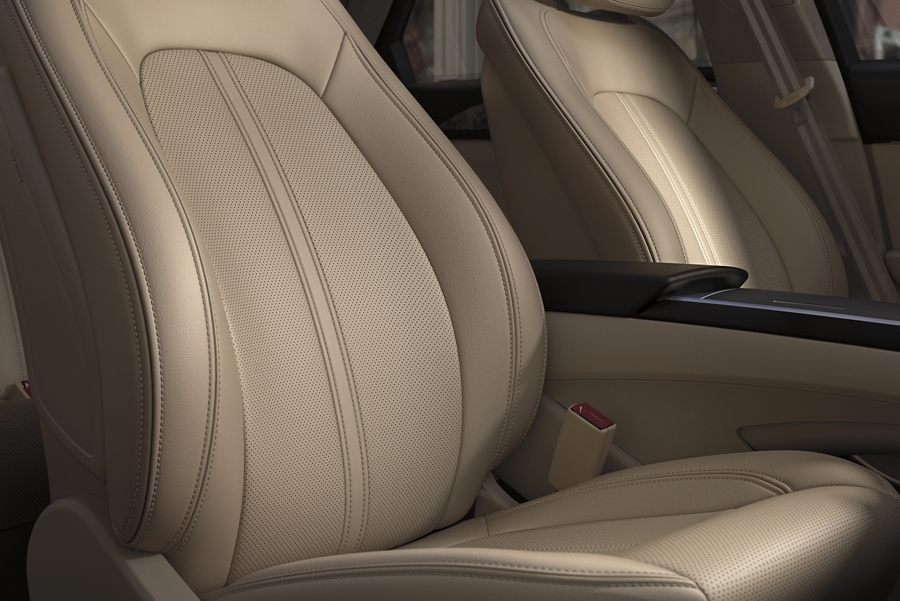 The front seats of a 2020 Lincoln M K Z are shown to highlight the available elements package