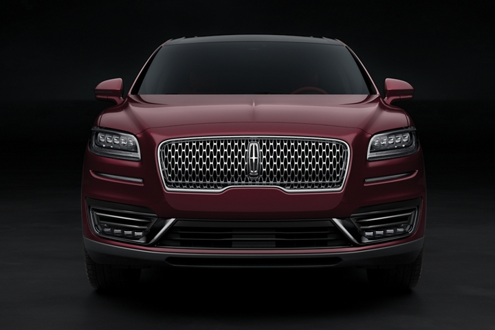 The grille and front fascia of Lincoln Black Label Nautilus in the Gala theme are shown